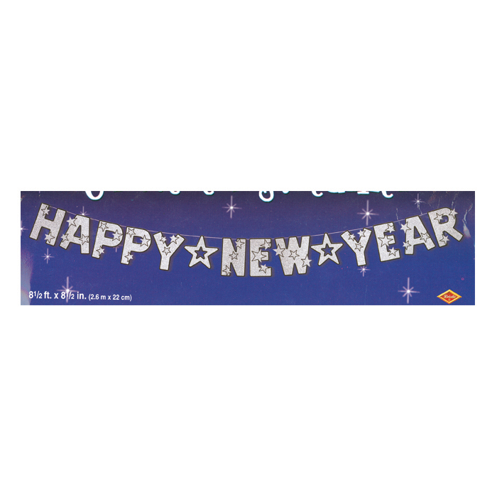 silver glitter new year banner