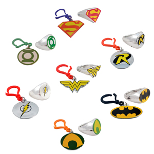 "DC Comics assorted Logo Ring or Carabiner Clip 2"" capsule"