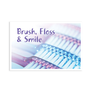 Brush Floss Smile Purple Postcard