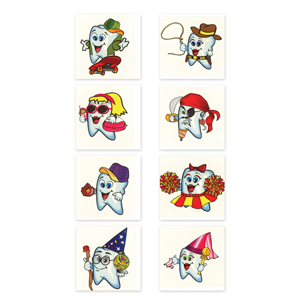 "2"" Dental Teeth Tattoos Assorted"